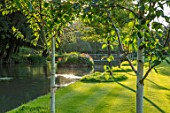 ABLINGTON MANOR, GLOUCESTERSHIRE: LAWN, COLN RIVER IN SUMMER, WATER