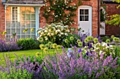 MORTON HALL, WORCESTERSHIRE: THE WEST GARDEN - ROSA KEW GARDENS, NEPETA GRANDIFLORA BRAMDEAN, ALLIUM WHITE GIANT,  BLUE, FLOWERS, ROSES, WINDOW, LAWN, EVENING LIGHT