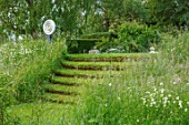 ASTHALL MANOR, OXFORDSHIRE: LAWN, TURF, STEPS, SCULPTURE BY LUKE DICKINSON. GREEN, ENGLISH, COUNTRY, GARDEN, SLOPES, SLOPING, STAIRCASE
