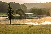 WORMSLEY, BUCKINGHAMSHIRE: LAKE AND ISLAND PAVILION AT DAWN, SUMMER, LANDSCAPE