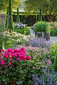 WORMSLEY, BUCKINGHAMSHIRE: THE OPERA GARDEN, DESIGNER HANNAH GARDNER: PATH, YEWS, BORDERS, PAEONIA VICTOIRE DE LA MARNE. ASTRANTIA ROMA, WELL HEAD, ENGLISH, COUNTRY, GARDEN, SUMMER