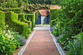 WORMSLEY, BUCKINGHAMSHIRE: FLINT AND BRICK PATH, WALLED GARDEN - SUMMER, ENGLISH, COUNTRY, GARDEN, YEW HEDGES, HEDGING