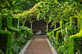 WORMSLEY, BUCKINGHAMSHIRE: FLINT AND BRICK PATH, WALLED GARDEN, SUMMERHOUSE, SUMMER HOUSE - BORDER WITH PERENNIALS, SUMMER, ENGLISH, COUNTRY, WALLS, WALLED, YEW HEDGES, HEDGING