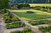 THE WALLED GARDEN AT COWDRAY, WEST SUSSEX: VIEW OVER LAWN AND STONE FOUNTAIN. BORDERS, GREEN, ENGLISH, COUNTRY, GARDEN
