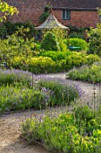 THE WALLED GARDEN AT COWDRAY, WEST SUSSEX: PATHS, LAVENDER, OUTDOOR DINING, SEATING AREA TABLE, CHAIRS, BOX PARTERRES, GREEN, ENGLISH, COUNTRY, GARDEN, AWNING, GAZEBO, AL FRESCO