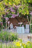 THE WALLED GARDEN AT COWDRAY, WEST SUSSEX: ROSE ARBOUR, TABLE, CHAIRS, PLACE TO SIT, AL FRESCO, DINING, ENGLISH, COUNTRY, GARD