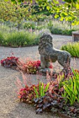 THE WALLED GARDEN AT COWDRAY, WEST SUSSEX: ENGLISH, COUNTRY, GARDEN, LION STATUE, SUMMER, HEUCHERA, GRAVEL PATHS