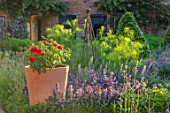 THE WALLED GARDEN AT COWDRAY, WEST SUSSEX: ENGLISH, COUNTRY, GARDEN, BOX EDGED, BORDERS, CONTAINER, ROSES, TABLE, CHAIRS, SEATING, PATHS, SUMMER, ROSA FOR YOUR EYES ONLY