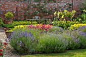 THE WALLED GARDEN AT COWDRAY, WEST SUSSEX: ENGLISH, COUNTRY, GARDEN, BORDER WITH PENSTEMON, LAVENDER, PERENNIALS, SUMMER, YELLOW FLOWERS