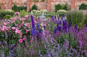 WYNYARD HALL, COUNTY DURHAM: WALLED ROSE GARDEN. BORDERS, SUMMER, JUNE, ROSES, ROSES, DELPHINIUMS, NEPETA, BLUE, PINK, FLOWERS
