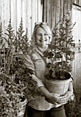 HARE SPRING COTTAGE PLANTS, YORKSHIRE: OWNER STELLA EXLEY. BLACK AND WHITE TONED IMAGE