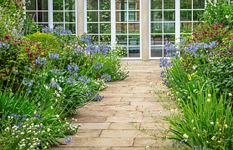 MORTON_HALL_WORCESTERSHIRE_THE_SOUTH_GARDEN_PATHS_BORDERS_AGAPANTHUS_BLUE_TRIUMPHATOR_SUMMER_GARDENS