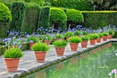 HAMPTON COURT CASTLE, HEREFORDSHIRE:THE DUTCH GARDEN, JULY - BLUE AGAPANTHUS IN TERRACOTTA CONTAINERS , RECTANGULAR FORMAL POOL, CANAL, ENGLISH, WATER, FORMAL