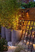 TANYA SOUTHWORTH GARDEN, LONDON, DESIGNER ANOUSHKA FEILER: ANTIQUE MIRROR, CONTAINERS WITH BAMBOO, SMALL, FORMAL, TOWN, URBAN, NIGHT, LIGHTS
