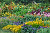 ASTON POTTERY, OXFORDSHIRE: ANNUAL BORDERS, WHITE COTTAGE, SUNFLOWERS, AGERATUM, AMARANTHUS, TITHONIA ROTUNDIFOLIA, GARDENS