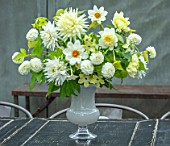 CLAUS DALBY GARDEN, DENMARK: BOUQUET BY CLAUS DALBY: DAHLIA MY LOVE, BRIDAL BOUQUET, SNOWFLAKE, PLATINUM BLONDE, LEMON ELEGANCE, NICOTIANA LIME GREEN, PHYSOCARPUS GOLD NUGGET
