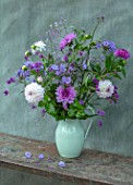 CLAUS DALBY GARDEN, DENMARK: BOUQUET OF FLOWERS BY CLAUS DALBY IN PINK AND WHITE - DAHLIA EVELYNE AND BLUE BOY, VERBENAS, THALICTRUM, PHLOX, SWEET PEAS