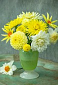 YELLOW THEMED CONTAINER PLANTED WITH DAHLIAS. FLOWER, ARRANGEMENTS, CUT, CUTTING, GARDEN, DISPLAYS