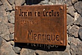 JARDIN DE CACTUS, LANZAROTE, CANARY ISLANDS: DESIGNER CESAR MANRIQUE - METAL GAREDN SIGN