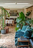 HORSE SHOE BEND, LONDON. DESIGNER MARTHA KREMPEL: INDOOR CORRIDOR WITH HOUSEPLANTS: STRELITZIA, HOWEA FOSTERIANA, ALOES, PILEA, INDOOR FERN