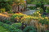 KELMARSH HALL, NORTHAMPTONSHIRE: BORDER WITH DAHLIAS AND GRASSES, GRAVEL PATH BESIDE GLASSHOUSE, CLIPPED TOPIARY TWIST. EVENING LIGHT, ENGLISH, COUNTRY, GARDENS, WALLED
