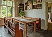 ALHAM FARM, SOMERSET: CORNISHWARE: FARMHOUSE DINING ROOM - CHURCH PEWS, FLOWERS FROM COMMON FARM FLOWERS, DINING TABLE, ENGLISH, COUNTRY, COTTAGE