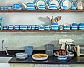 ALHAM FARM, SOMERSET: CORNISHWARE - TRADITIONAL FARMHOUSE KITCHEN IN BLUE AND CREAM, ENGLISH, COUNTRY, COTTAGE, CLASSIC