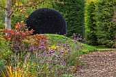 RADCOT HOUSE, OXFORDSHIRE:THE PAVILION AREA: PATH, COTINUS, VERBENA BONARIENSIS, MOUND, BLACK ASTROTURF BALL BY LUCY STRACHAN, ORNAMENT