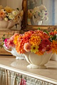 FLOWERS FROM THE FARM, MARBURY HALL, DESIGNER SOFIE PATON-SMITH: FLOWER ROOM - CONSTANCE SPRY VASES WITH DAHLIAS. CUT FLOWERS, CUTTING, DISPLAYS, MIRROR