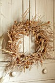 FLOWERS FROM THE FARM, MARBURY HALL, DESIGNER SOFIE PATON-SMITH: DRIED SEED HEAD WREATH ON CUPBOARD DOOR. NIGELLA, PENNY CRESS, POPPY HEADS, NATURAL, WREATHS