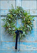 FLOWERS FROM THE FARM, MARBURY HALL, DESIGNER SOFIE PATON-SMITH: NATURAL WREATH WITH BLUE RIBBON, BLUE DOOR