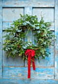 FLOWERS FROM THE FARM, MARBURY HALL, DESIGNER SOFIE PATON-SMITH: NATURAL WREATH WITH RED RIBBON. BLUE DOOR, YEW, EUCALYPTUS