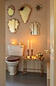 PYTTS HOUSE, OXFORDSHIRE: CHRISTMAS - TOILET, LOO, CANDLES, MIRRORS, BATHROOM, VINTAGE