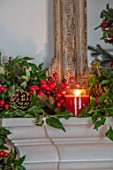 GIBBONS CROFT, WEST CLANDON, SURREY: CHRISTMAS - SITTING ROOM, DECORATIONS, MANTELPIECE, CANDLES