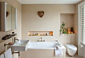 GIBBONS CROFT, WEST CLANDON, SURREY: MODERN, CONTEMPORARY BATHROOM, STONE, WHITE