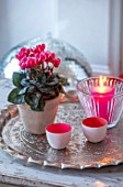 AMANDA KNOX HOUSE GRANTHAM: FRONT LIVING ROOM, CHRISTMAS, CANDLES, CONTAINER, CYCLAMEN, INDOOR, FLOWERS, PRESENTS, TRAY, PINK