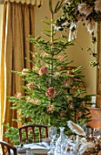MARBURY HALL, SHROPSHIRE: DESIGNER SOFIE PATON-SMITH - DINING ROOM, VICTORIAN INSPIRED CHRISTMAS, CHRISTMAS TREE DECORATED WITH ALLIUMS AND HYDRANGEA SEED HEADS