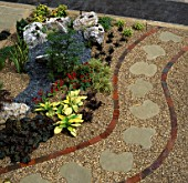 JAPANESE STYLE FRONT GARDEN WITH CURVED PATH AND STEPPING STONES IN GRAVEL. DESIGNED BY: JANE FEARNLEY-WHITTINGSTALL