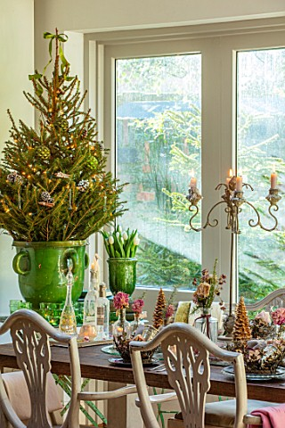 MERRYWOOD_JACKY_HOBBS_HOUSE_LONDON_DINING_AREA_WOODEN_DINING_TABLE_CHRISTMAS_PLACE_SETTINGS_GREEN_GL