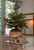 MERRYWOOD, JACKY HOBBS HOUSE, LONDON: DINING AREA, STONE URN, CHRISTMAS TREE, CANDLES, VINTAGE FRENCH BOOKS, VINTAGE GILT FRAMES