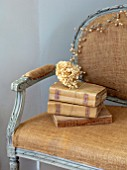 JACKY HOBBS HOUSE, LONDON:VINTAGE FRENCH SOFA, DRIED HYDRANGEA HEAD, VINTAGE FRENCH BOOKS