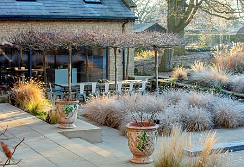THE_OLD_RECTORY_QUINTON_NORTHAMPTONSHIRE_DESIGNER_ANOUSHKA_FEILER_GRASSES_FROST_WINTER_SUNKEN_PATIO_