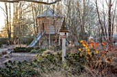 THE OLD RECTORY, QUINTON, NORTHAMPTONSHIRE: DESIGNER ANOUSHKA FEILER: FROST, WINTER, FROSTY GARDEN, BIRD HOUSE, TREEHOUSE, TREE HOUSE, HYDRANGEA, CHILDRENS, PLAY