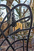 THE OLD RECTORY, QUINTON, NORTHAMPTONSHIRE: DESIGNER ANOUSHKA FEILER: METAL FRONT GATE WITH FOXGLOVE SCULPTURE, ORNAMENT, WINTER, FROST