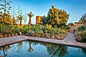 TAROUDANT, MOROCCO: DESIGNERS ARNAUD MAURIERES AND ERIC OSSART: PRIVATE GARDEN - SWIMMING POOL, TERRACE, CACTUS, APRIL, AFRICA, ALOE VERA, REFLCTIONS