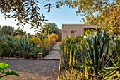 TAROUDANT, MOROCCO: DESIGNERS ARNAUD MAURIERES AND ERIC OSSART: BOULES COURT, AGAVES, YELLOW FLOWERED ALOE VERA, HOUSE, APRIL, DRY, ARID, SUCCULENTS
