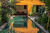 TAROUDANT, MOROCCO: DESIGNERS ARNAUD MAURIERES AND ERIC OSSART: DAR AL HOSSOUN - EXOTIC PLANTING BESIDE POOL, WATER, CANAL, LOGGIA, ORANGE, CUSHIONS, SEATING