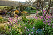 GRAVETYE MANOR SUSSEX: SPRING, APRIL, COUNTRY, GARDEN, TULIPS, FORGET-ME-NOTS AND HONESTY BY WATER FOUNTAIN ON TERRACE
