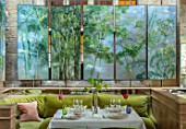 GRAVETYE MANOR SUSSEX: SPRING, APRIL, COUNTRY, GARDEN, THE DINING ROOM - BOTANICALLY INSPIRED HAND PAINTED PANELS BY FRENCH ARTIST CLAIRE BASLER
