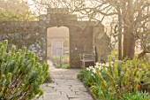 GRAVETYE MANOR SUSSEX: SPRING, APRIL, COUNTRY, GARDEN, PATH, WALL, ARCHWAY, EUPHORBIA, NARCISSI, MORNING, FOG, MIST, MISTY